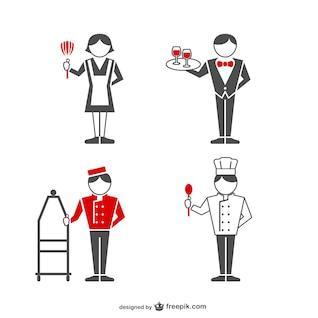Conjunto de empleados de hotel
