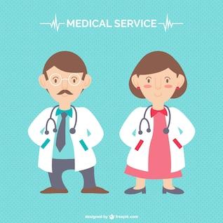 Vector de doctores hombre y mujer