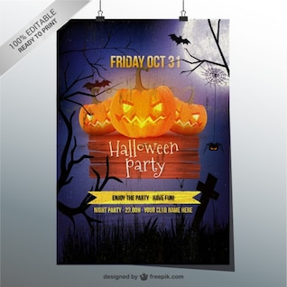 Plantilla grunge para flyer de Halloween
