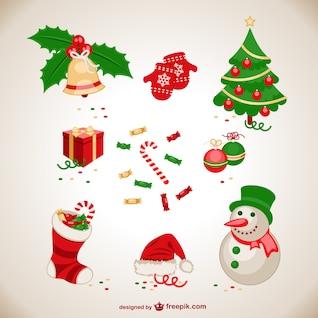Conjunto de elementos de  Navidad vintage