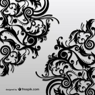 Vector ornamental floral negro