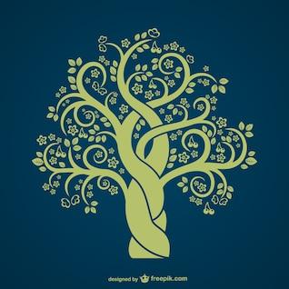 Silueta de árbol vintage