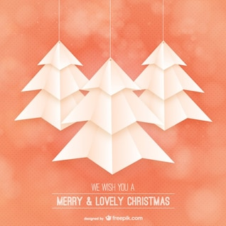 Tarjeta de Navidad con árboles de estilo origami