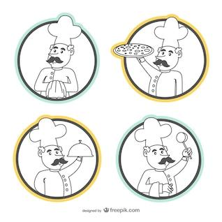 Conjunto de dibujos de cocinero