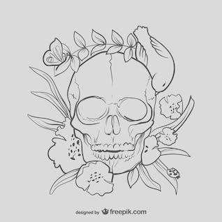 Dibujo de cráneo floral