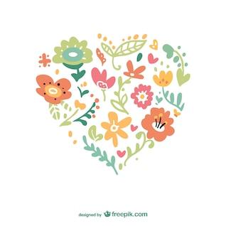 Vector de corazón floral