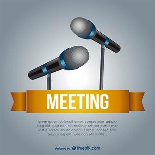 Plantilla de reunión con micrófonos