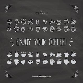 Tipografía de disfruta tu café con textura de pizarra
