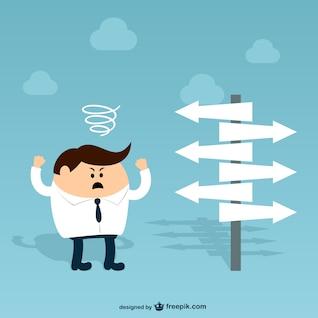 Personaje de hombre de negocios con señales de dirección