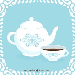 Ilustración de cafetera y una taza