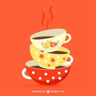 Ilustración de tazas de té de colores