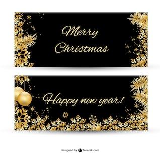 Banner de Feliz Navidad con adornos dorados