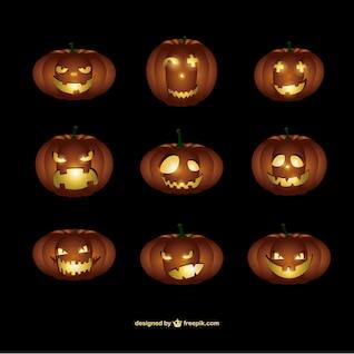 Calabazas de Halloween con caras