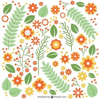 Las flores y las hojas planas patrón