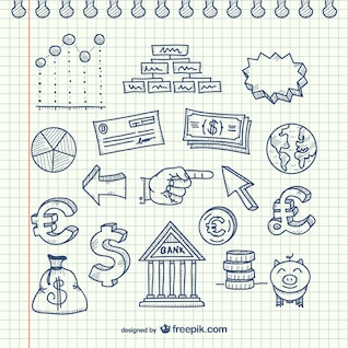Conjunto de bocetos de negocios