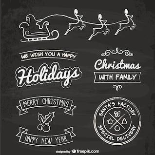 Elementos de Navidad de estilo pizarra