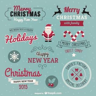 Conjunto de felicitaciones de Navidad