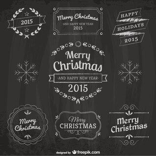 Elementos de diseño de Navidad con textura de pizarra