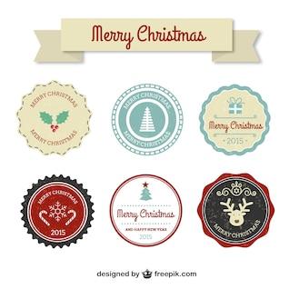 Insignias coloridas del navidad del vintage
