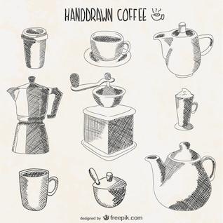 Elementos de café dibujados a mano