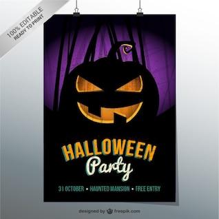 Plantilla de flyer con calabaza de Halloween