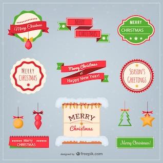 Pack de elementos planos de Navidad