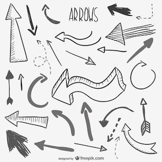 Conjunto de bocetos de flechas