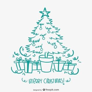 Tarjeta de Navidad con el árbol dibujado