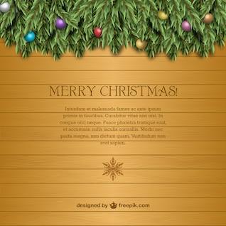 Plantilla de tarjeta de Navidad con textura de madera