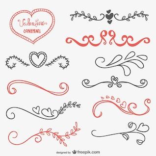 Adornos caligráficos de San Valentín