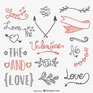 Elementos caligráficos de San Valentín