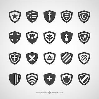 Conjunto de iconos con forma de escudo