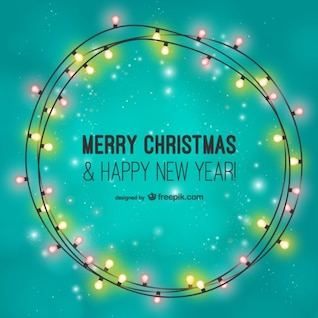 Feliz tarjeta de Navidad con bombillas