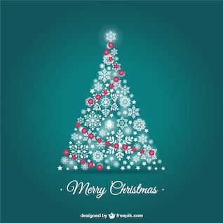 Vector tarjeta de Navidad con árbol de copos de nieve de nieve