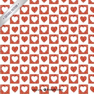 Patrón de corazones rojos y blancos