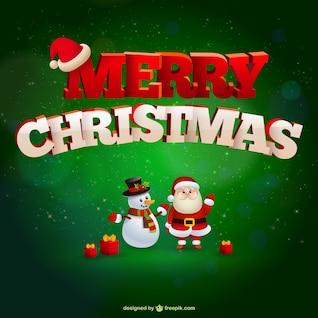 Tarjeta de feliz Navidad con Papá Noel y muñeco de nieve
