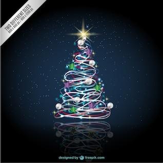 Árbol de Navidad con cielo estrellado