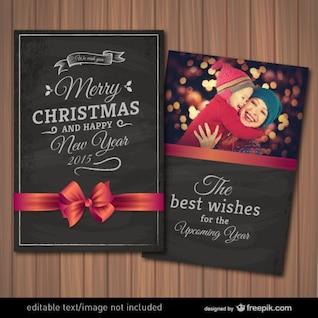 Tarjeta editable de Navidad con marco para fotografía