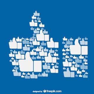 Vector conceptual de me gusta en Facebook