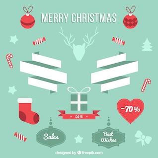 Stickers de rebajas de Navidad vintage