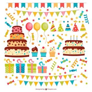 Conjunto de elementos gráficos de cumpleaños