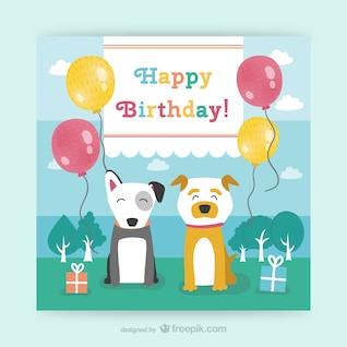 Tarjeta de cumpleaños CMYK con perros