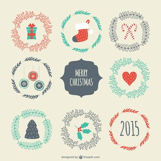 Insignias de Navidad de estilo vintage