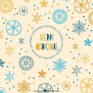 Patrón de Navidad con copos de nieve dibujados