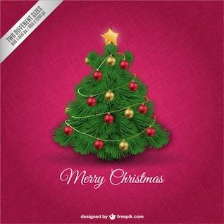 Tarjeta de Navidad con árbol decorado