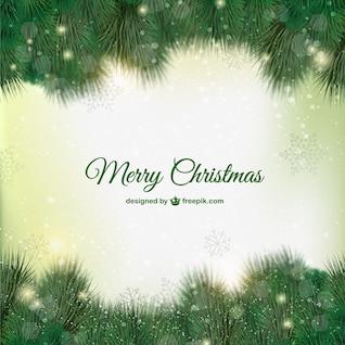 Tarjeta de Navidad verde con hojas