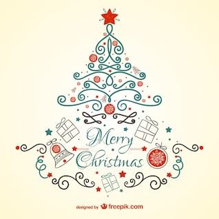Tarjeta de Navidad vintage con árbol