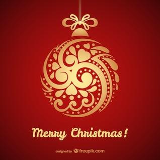 Tarjeta de Navidad con bola de oro