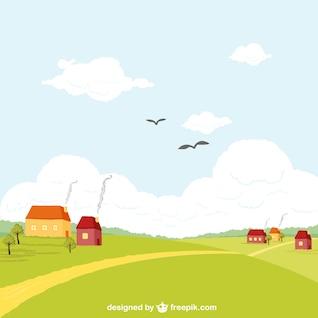 Vector de paisaje rural