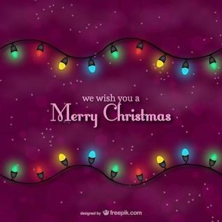 Tarjeta de Navidad con luces de colores
